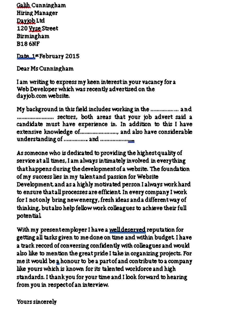 Web Developer Job Cover Letter Sample