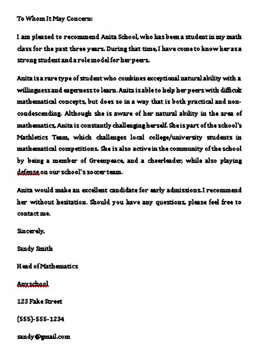 able college recommendation letter