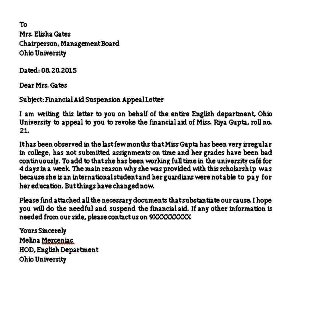 appeal letter sample