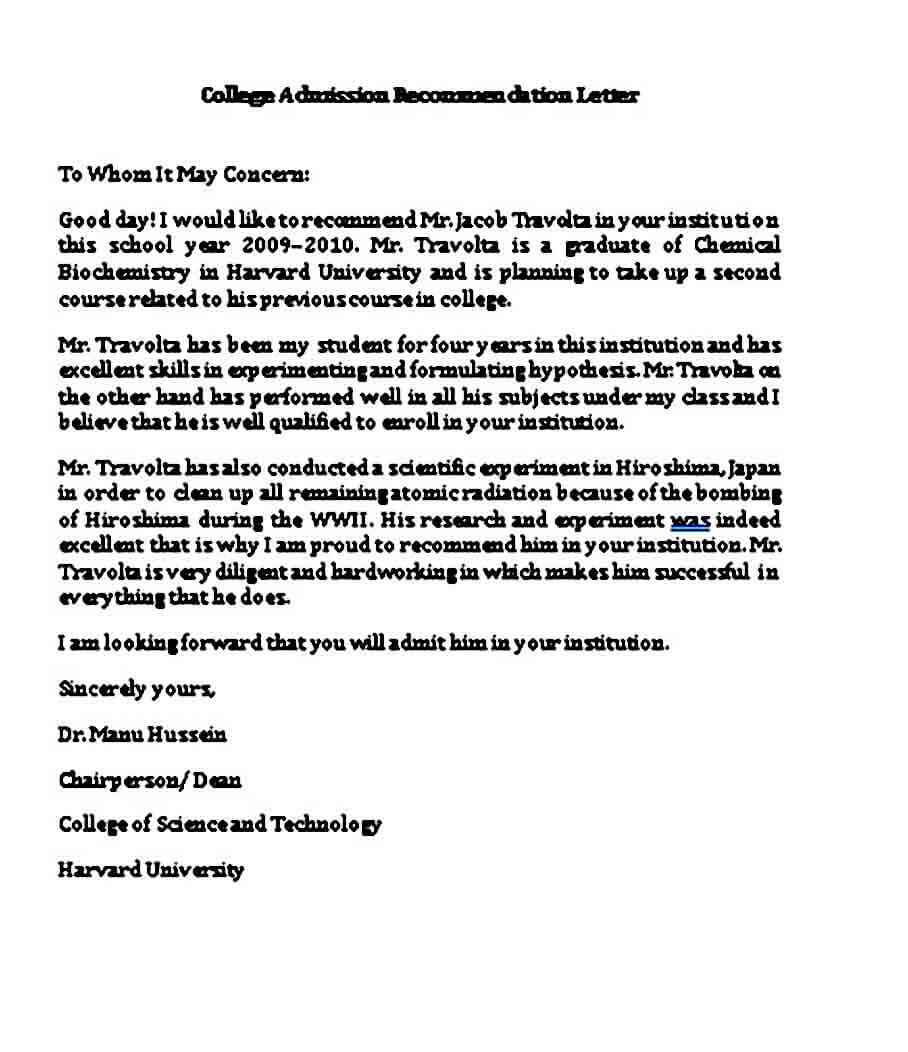 college admission recommendation letter in word