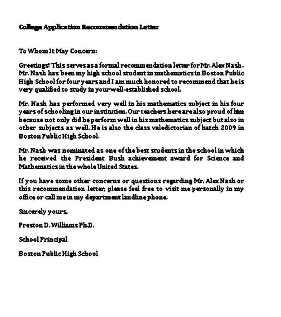 college application recommendation letter