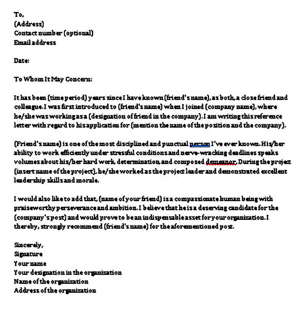 college recommendation letter from a friend