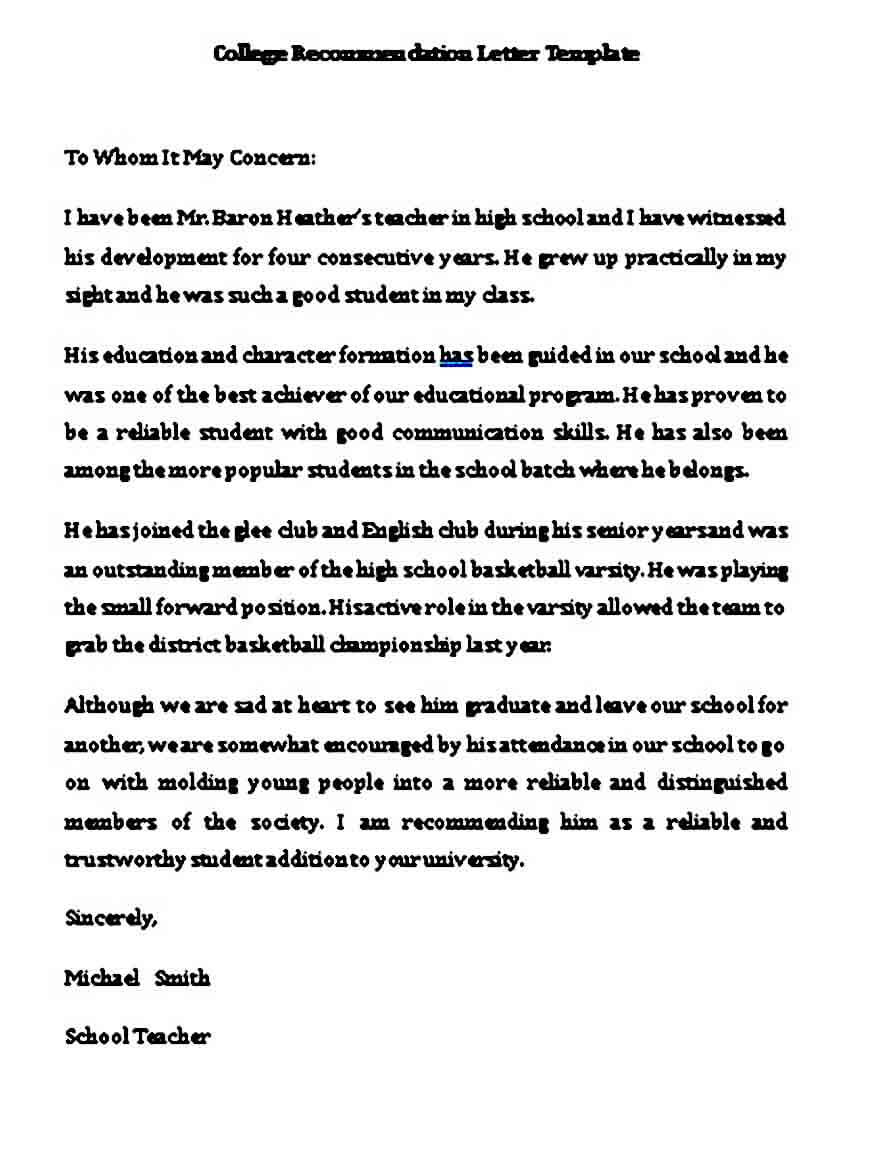 college recommendation letter templates in word