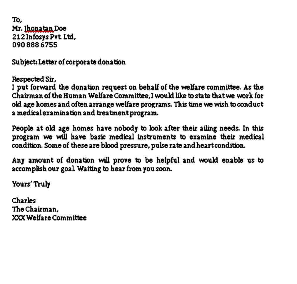 corporate donation letter