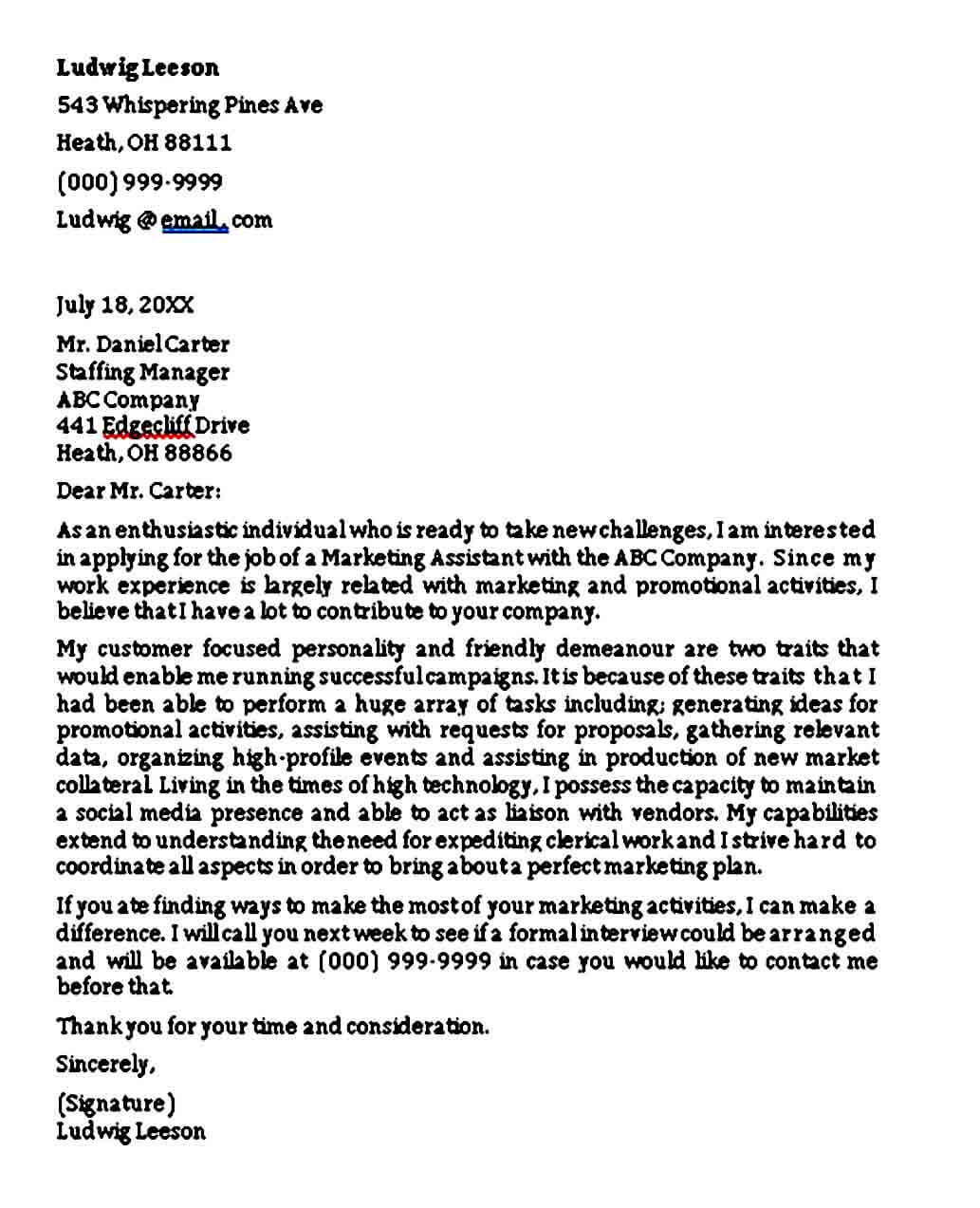 Graduate Marketing Cover Letter: Entry Level Marketing Cover Letter Sample PDF Word