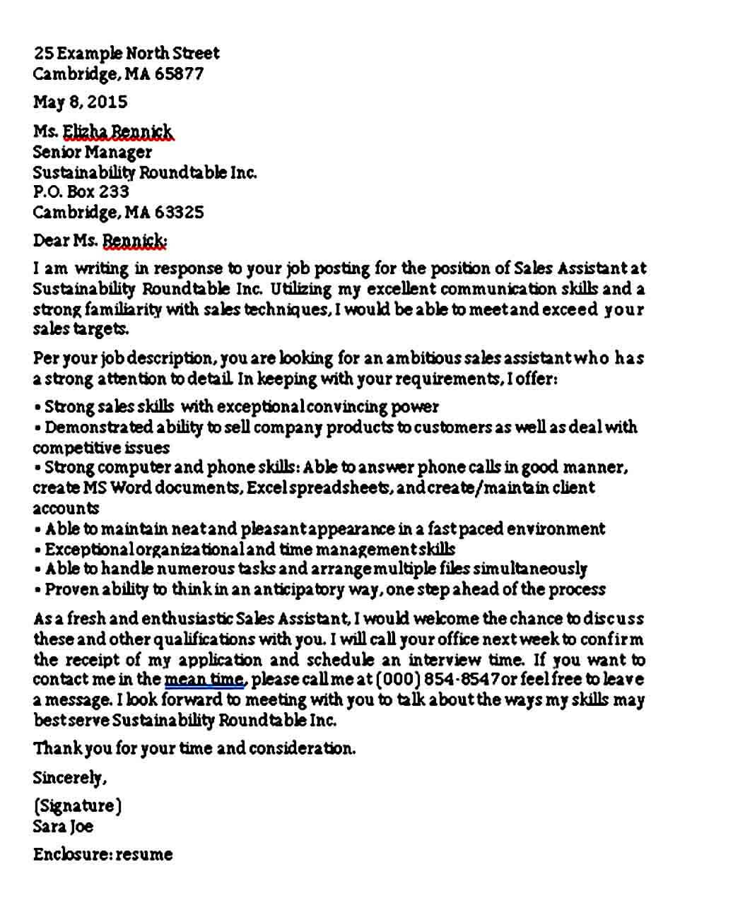 entry level sales and marketing cover letter
