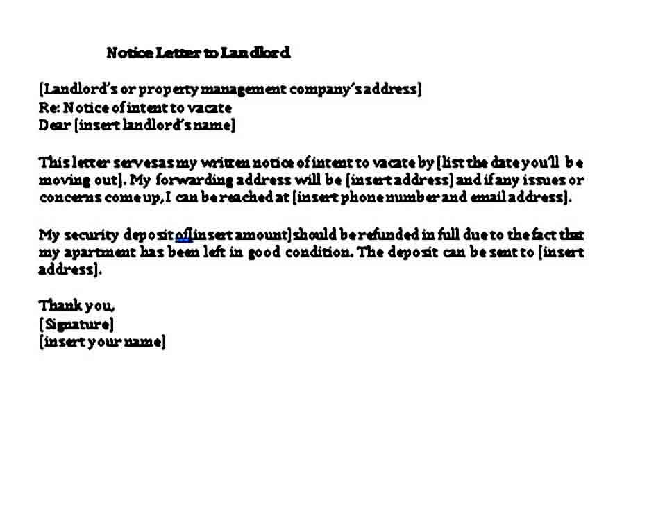 example days notice letter to landlord