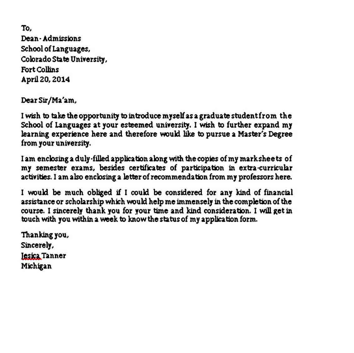 sample college application letter