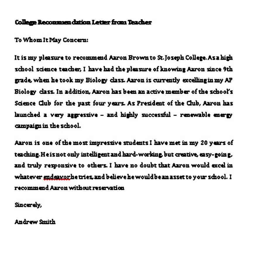 sample college recommendation letter from teacher