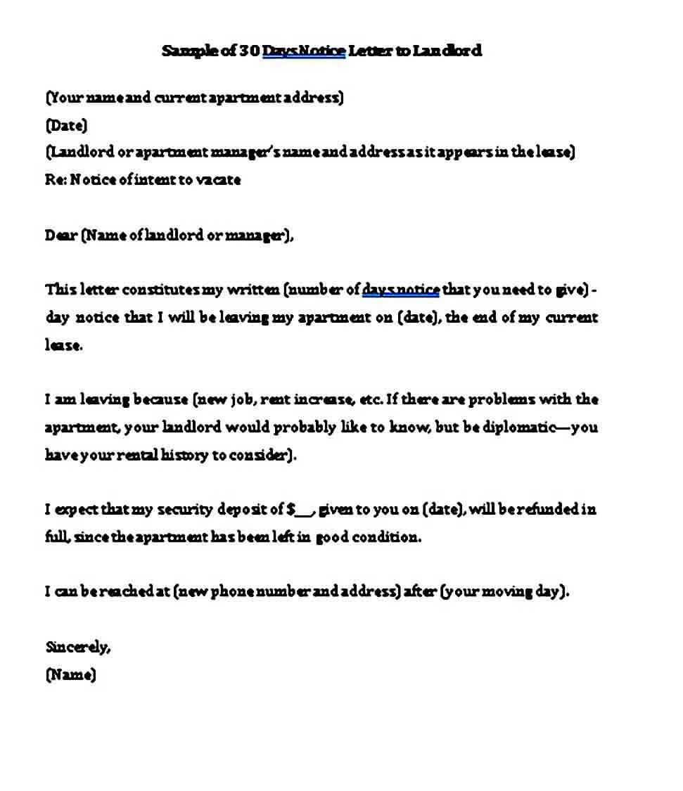 sample of days notice letter to landlord