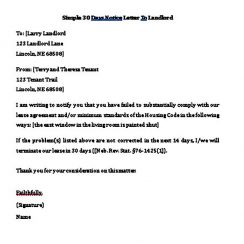 simple days notice letter to landlord