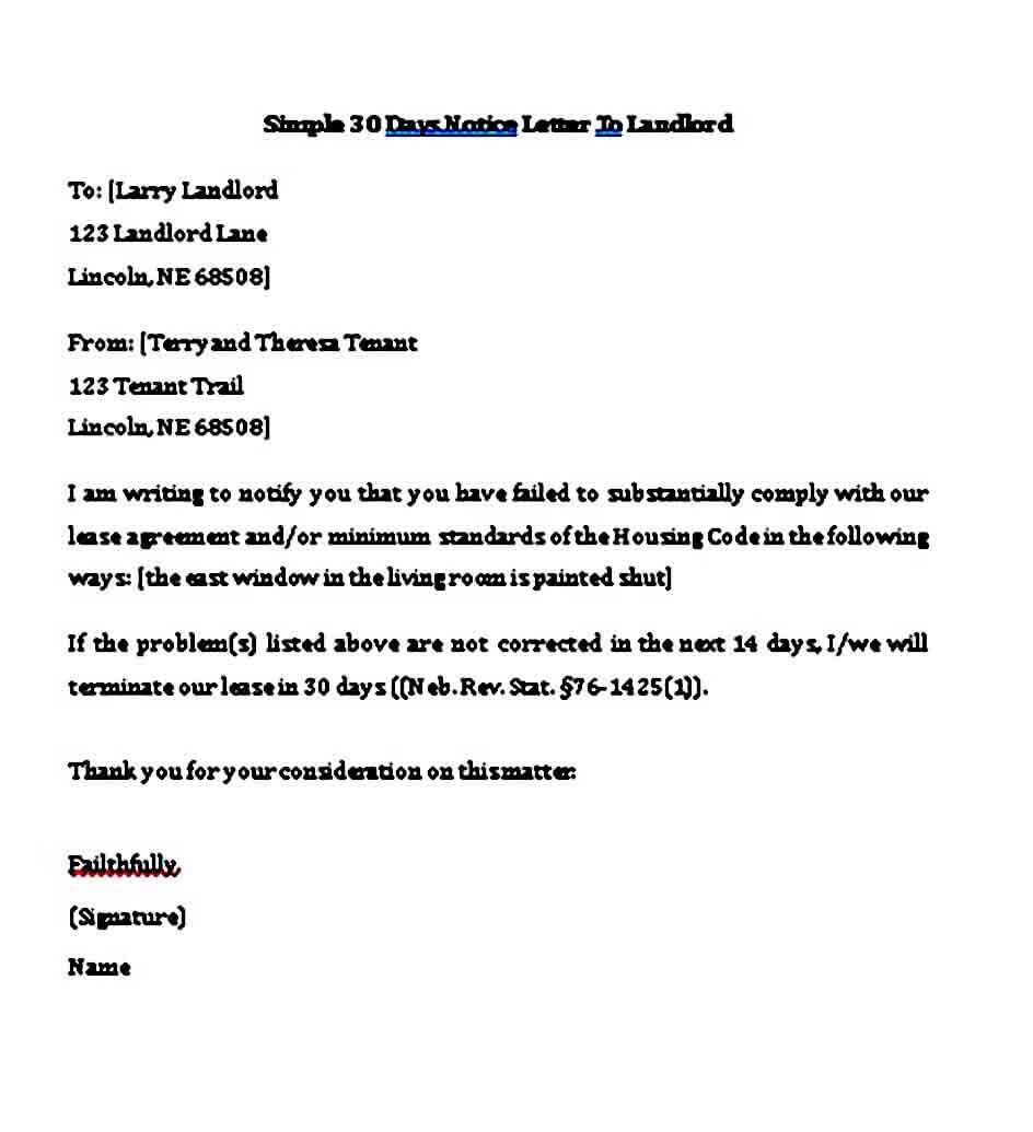 30 Day Notice To Vacate Letter From Landlord Tenant ...