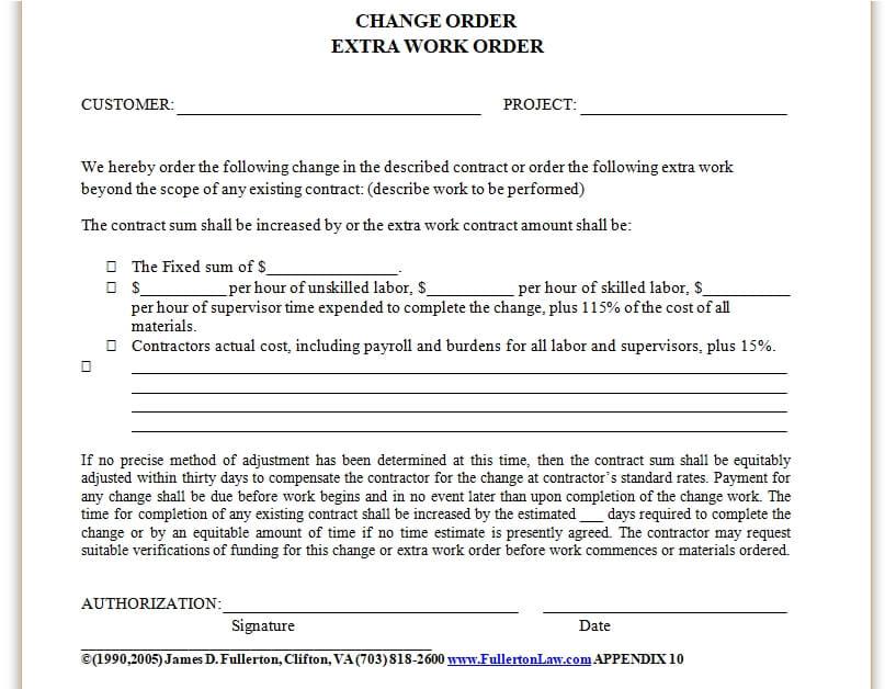 change order extra work order