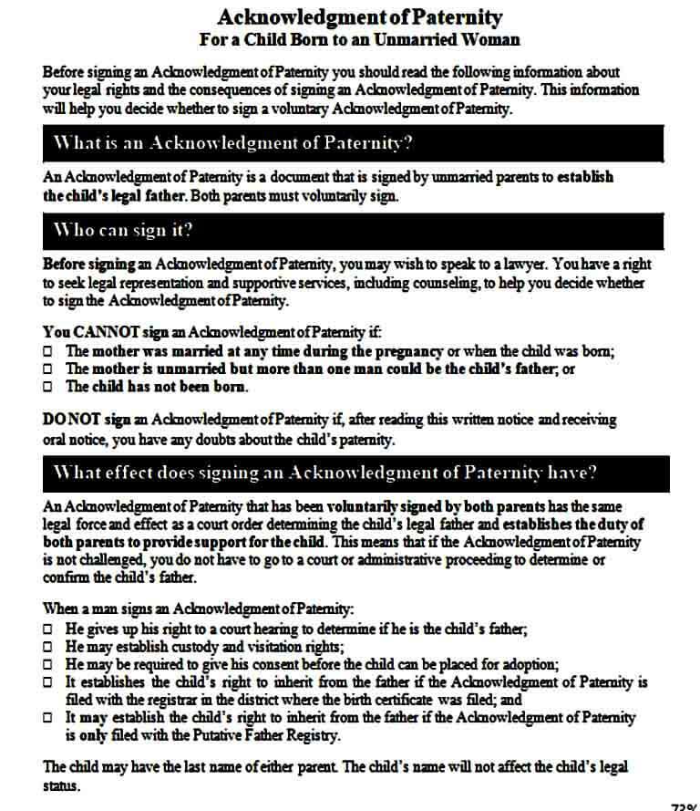 Acknowledgement of Paternity Affidavit Form
