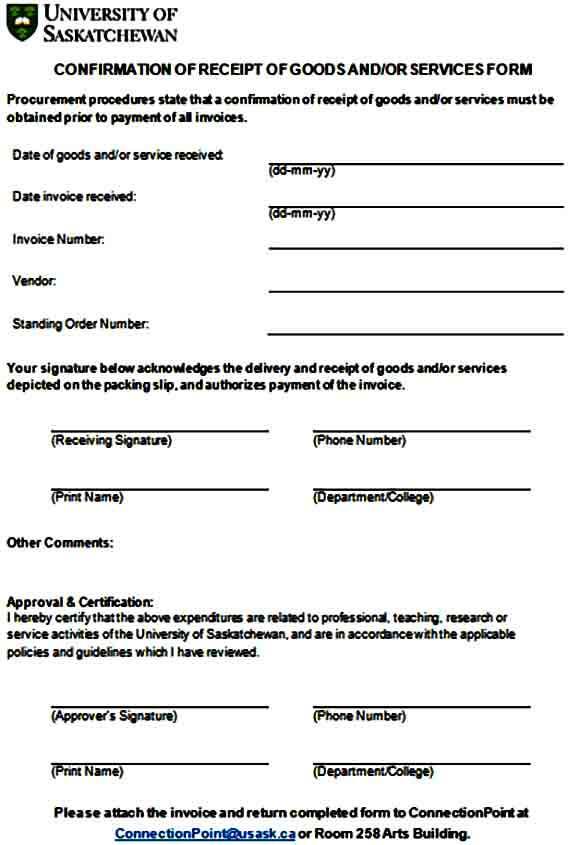 Acknowledgment of Goods Receipt Form