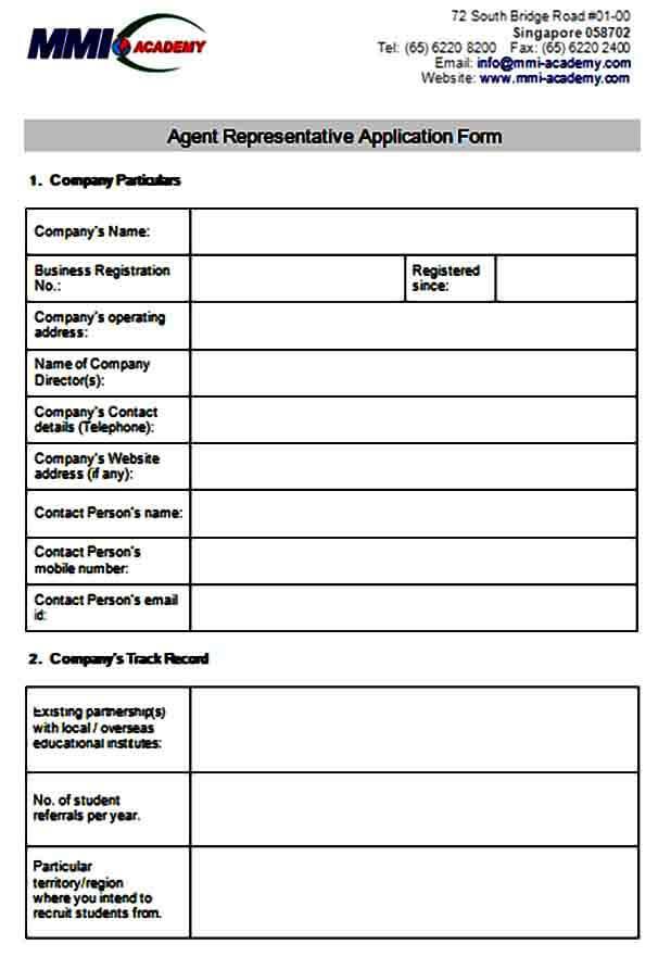 Agent Representative Application Form