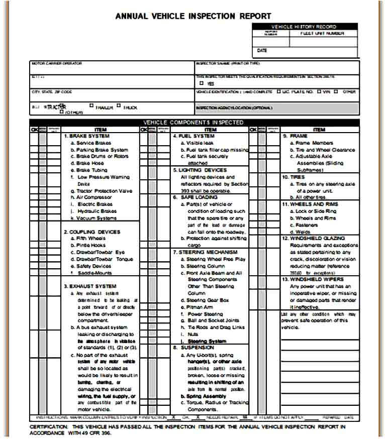Annual Vehicle Inspection Report Form