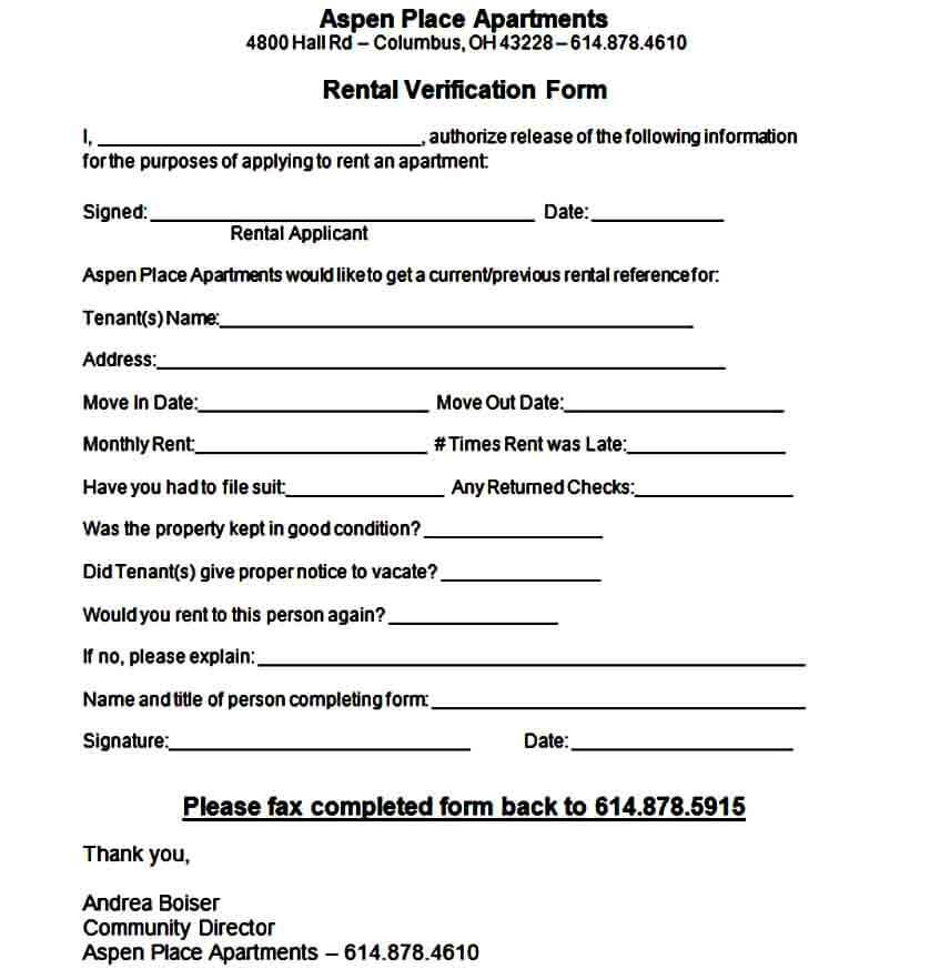 Apartment Rental Verification Form