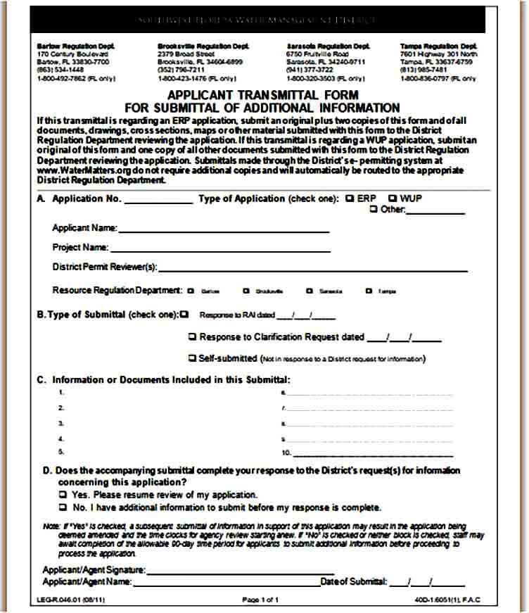 Application Transmittal Form for Submittal