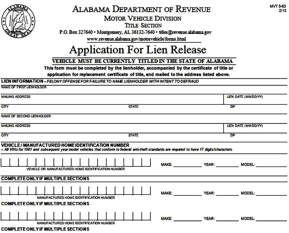 Application for Lien Release Form