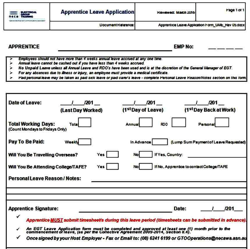 Apprentice Leave Application Form