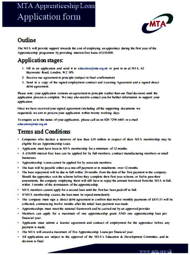Apprenticeship Loan Application Form