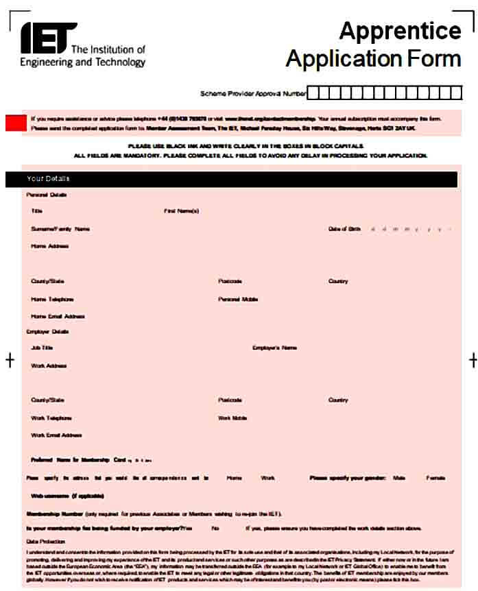 Apprenticeship Training Application Form