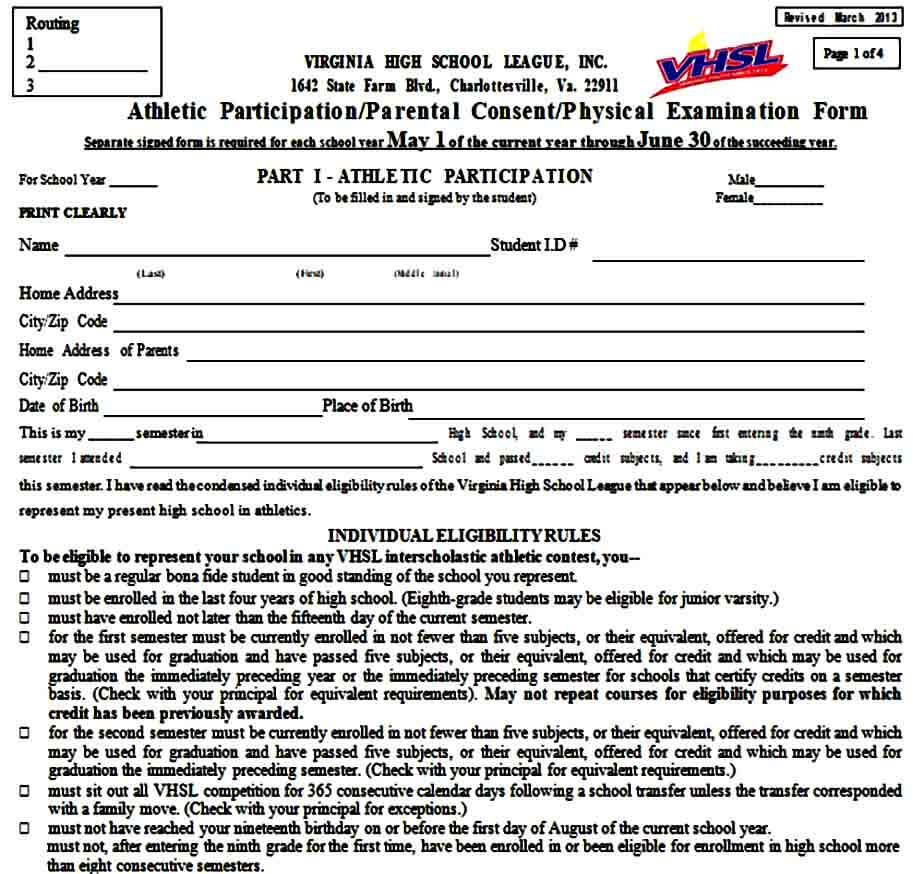 Athletic Physical Examination Form