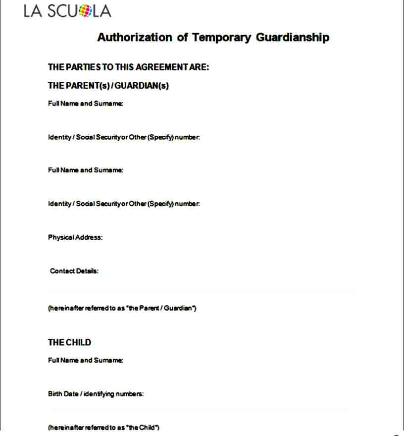 Authorization of Temporary Guardianship Form