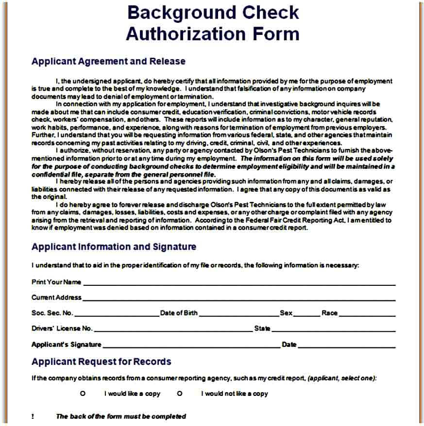 Background Check Authorization Form DOC