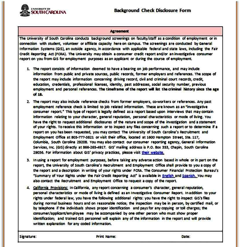 Background Check Disclosure Form