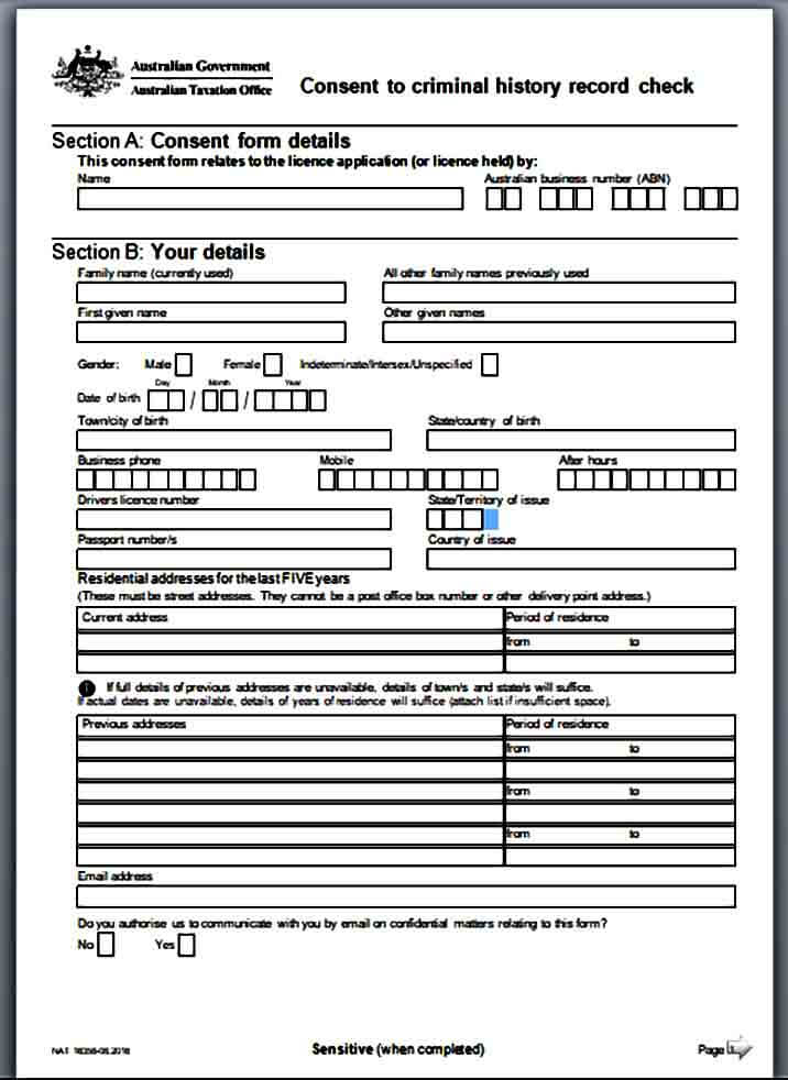 Background Consent Check Form
