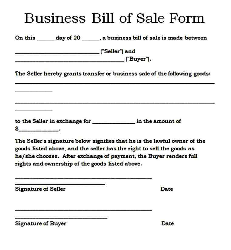 Basic Business Bill of Sale Form