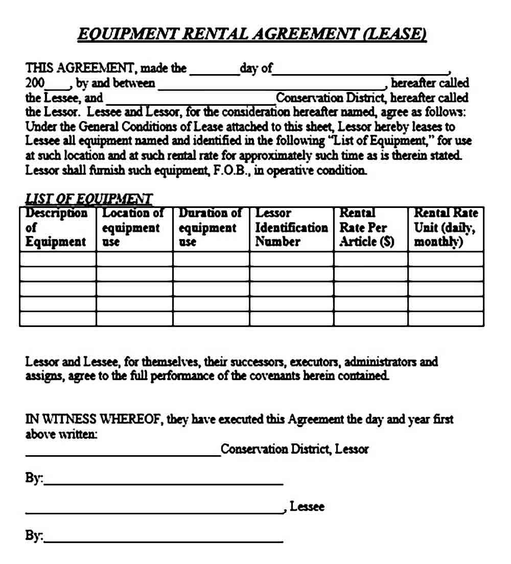 Basic Equipment Rental Agreement Sample