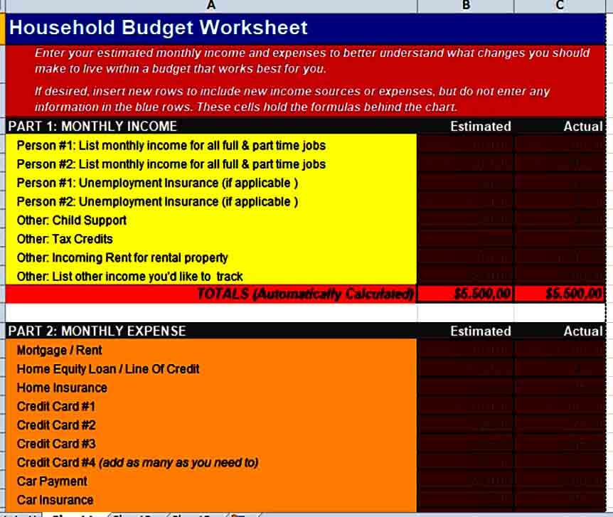 Basic Household Budget Form
