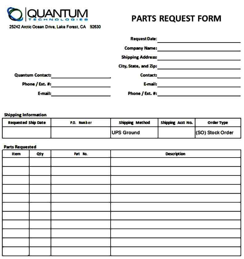 Basic Parts Requisition Form