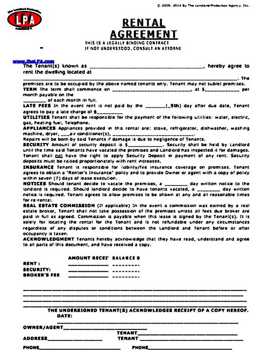 Basic Rental Agreement Form