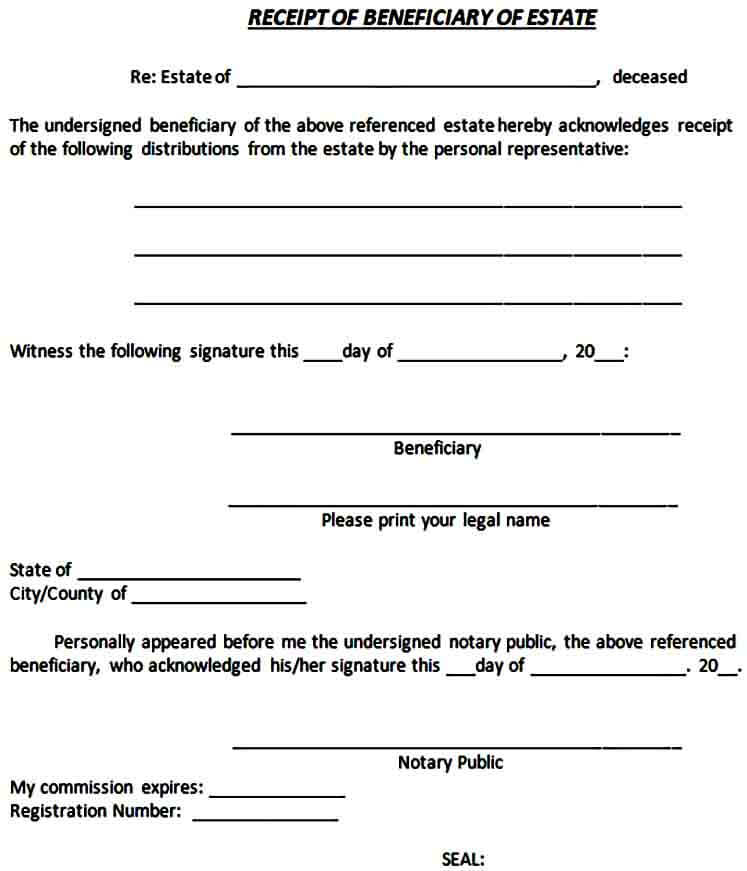 Beneficiary Receipt Release Form