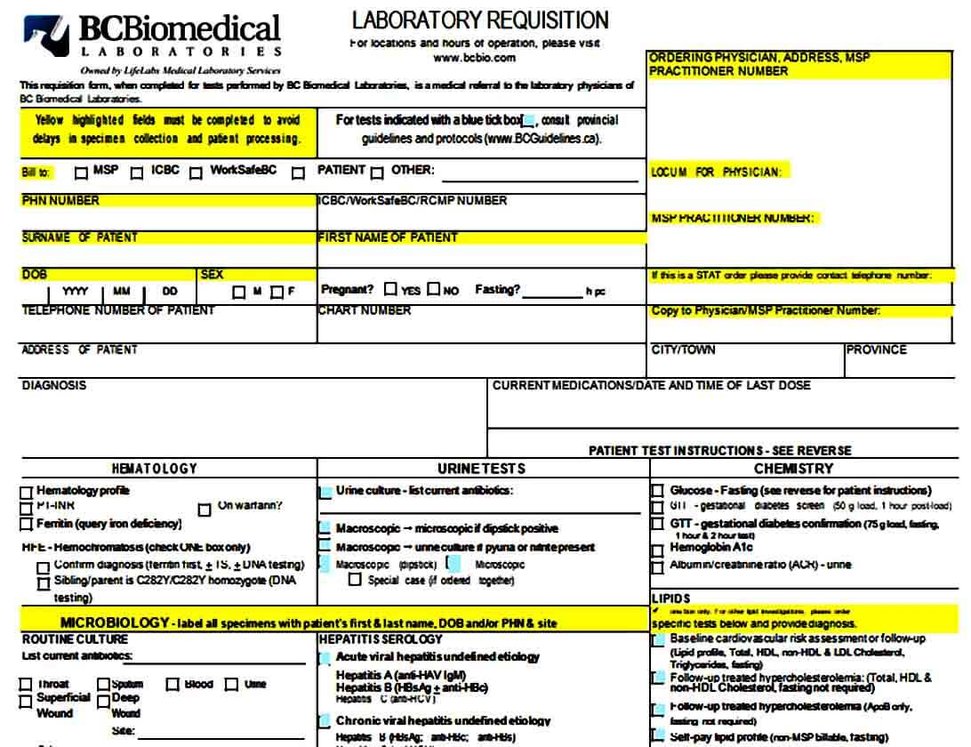 Biomedical Lab Requisition Form