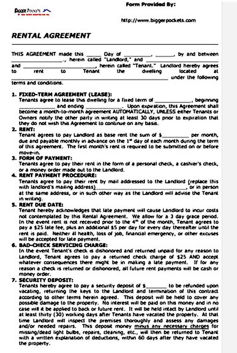 Blank Basic Rental Agreement