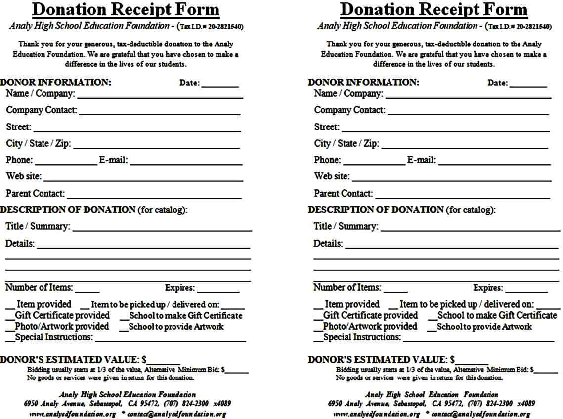 Blank Donation Receipt Form