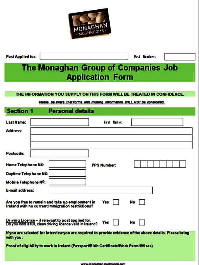 Blank Job Application Form