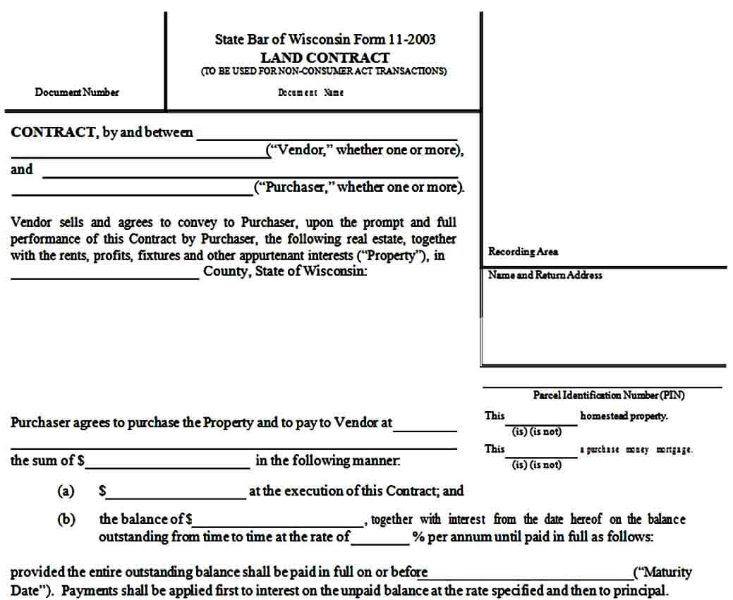 Blank Land Contract Form Example