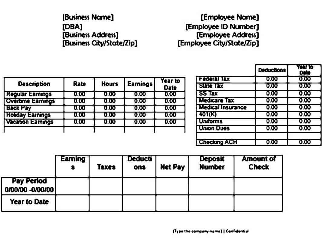 Blank Pay Stub templates