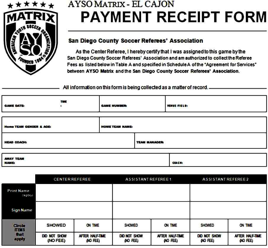 Blank Payment Receipt Form