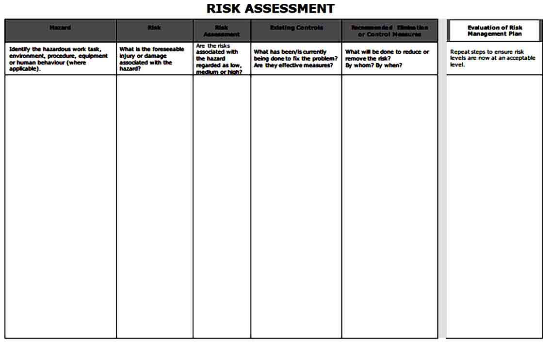 Blank Risk Assessment Form