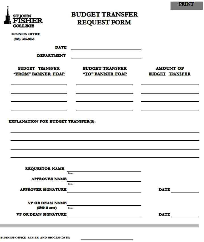 Budget Transfer Request Form