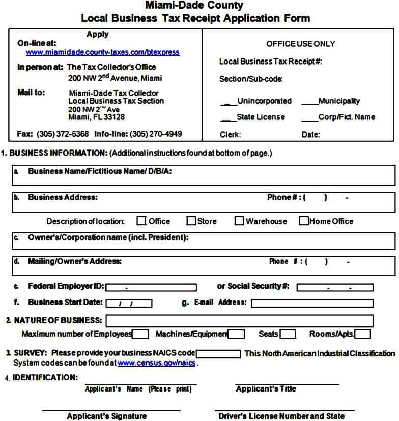 Business Tax Receipt Form