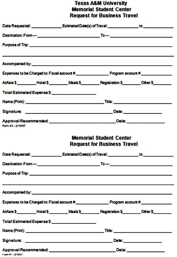 Business Travel Requisition Form