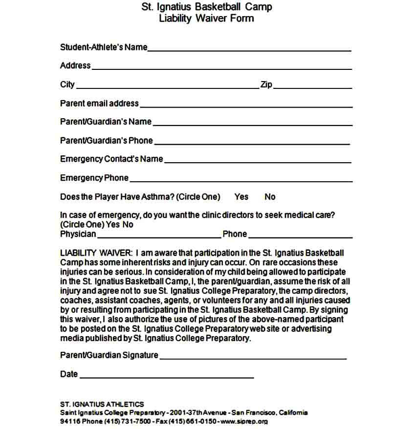 Camp Liability Waiver Form